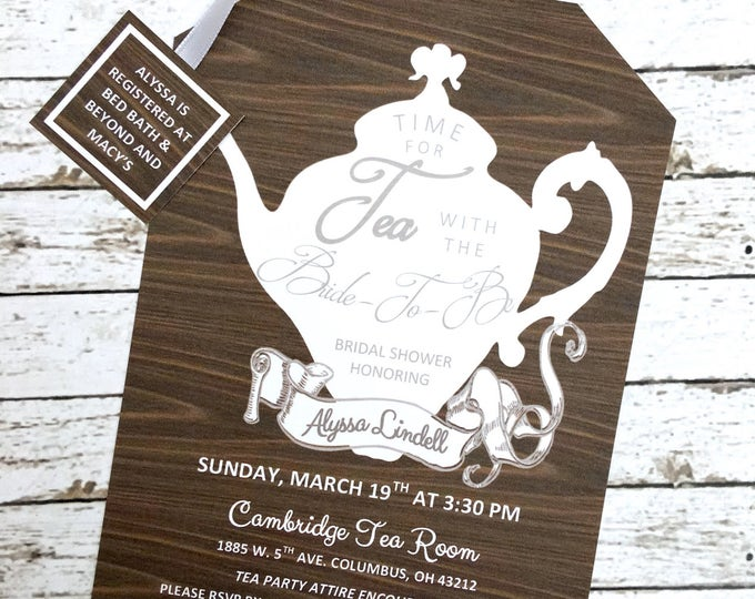 Tea Party Rustic Wood Panel and White Shower Invitations Tea Pot Style on Elegant Linen Card Stock