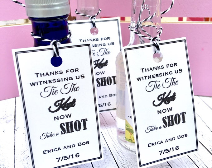 Mini Alcohol Favor Tags - We Tied the knot - Take a Shot - Wedding Favors - Bridal Shower Favors - Tied the Knot Labels - Mini Alcohol Favor