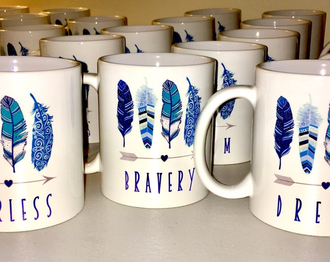Shower Mug Favors - Bridal or Baby - Feather Arrow theme shower Mugs. Tea Coffee Party Favors / personalized mug / fearless bravery and drea
