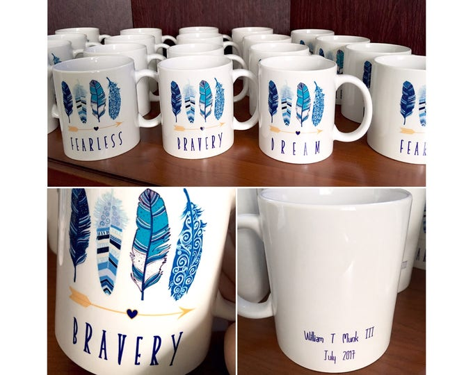 Shower Mug Favors - Bridal or Baby - Feather Arrow theme shower Mugs. Mug Party Favors / personalized mug / Bravery / Fearless / Dream