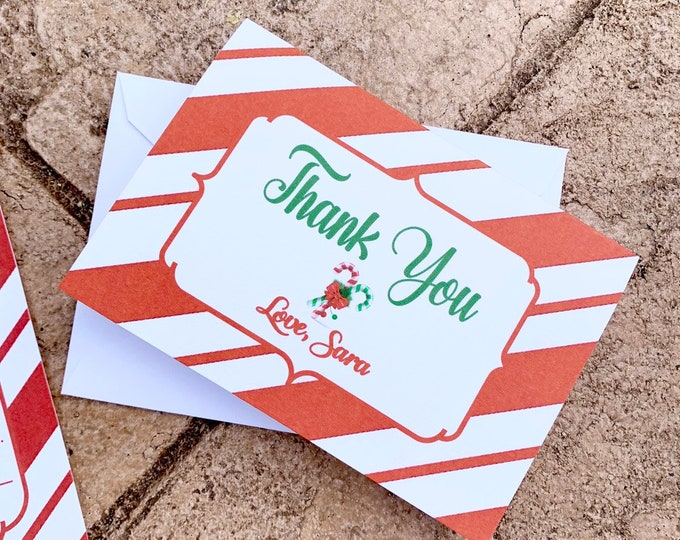 Candy Cane Themed Thank you cards - matching Thank you cards