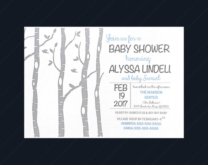 Woodland Baby Shower Invitations - Birch Trees - white and gray birchtree - blue - Baby Boy - fox and owl baby shower