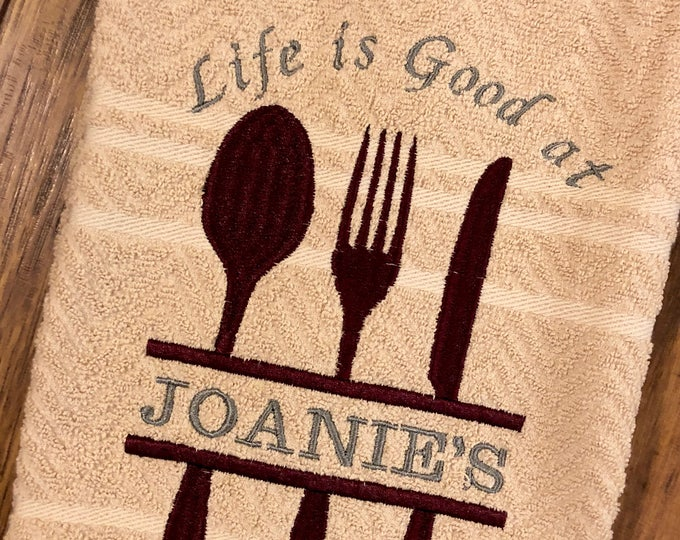 Personalized Embroidered Kitchen Towel - Life is Good