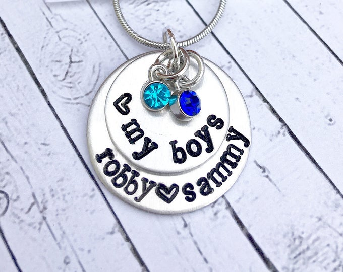 My Boys - Name Stamped Necklace - Stacked Names - Child's Names - Mother's Day gift - Necklace for mom - Mothers Love