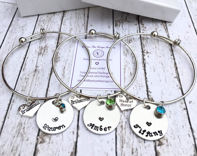 Bridal Party Bangles with Engraved Names - Proposal Jewelry - Bridal Party Proposals