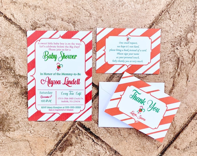 Candy Cane Baby Shower Invitation Set with Thank you cards and Poem Cards