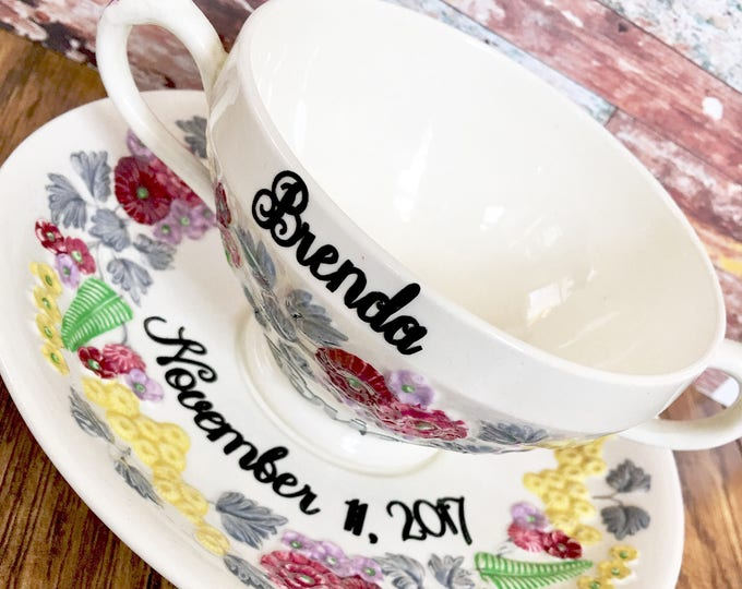 Personalized Vintage China Tea Cup for the Bride to be - Tea Party Bridal Shower Decor