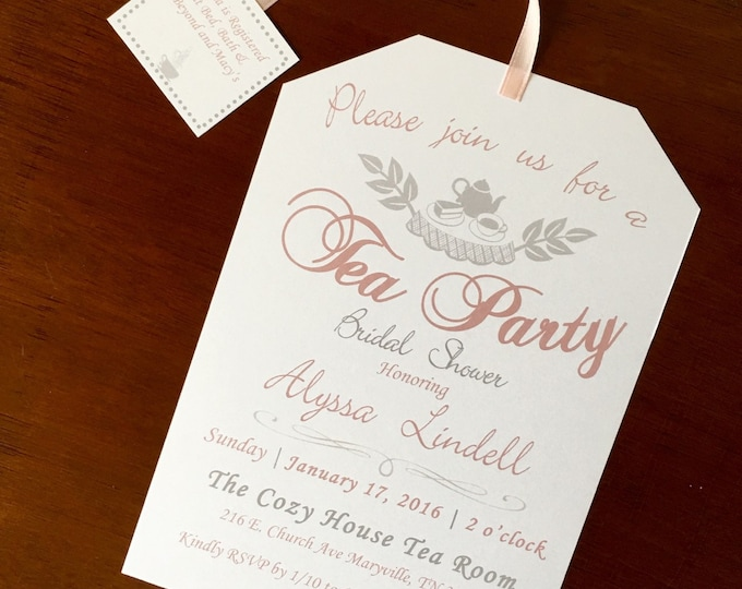 Printable Tea Party Bridal Shower Invitations Pink and Gray