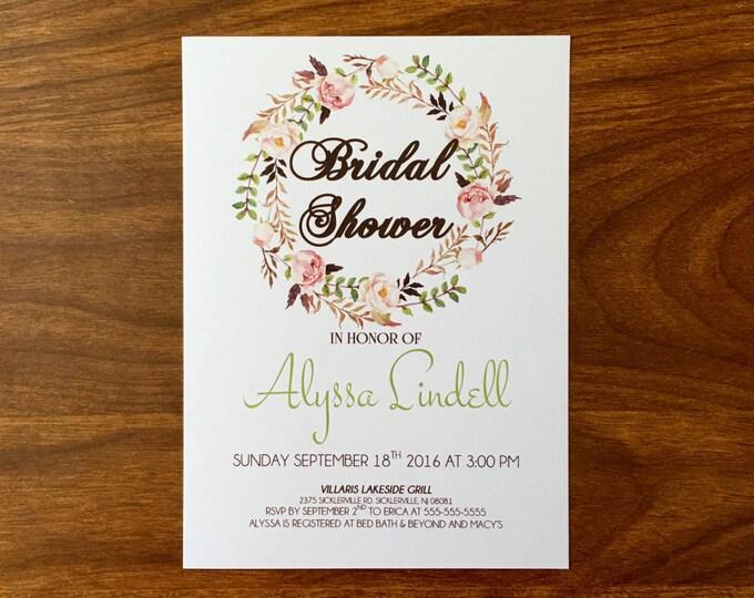 Floral Bridal Shower Invitations - Elegant and Vintage Style