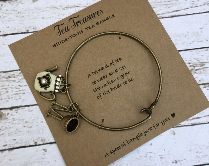 Tea Bangle for The Bride to Be - Tea Party Jewelry - Bride to Be Bangle