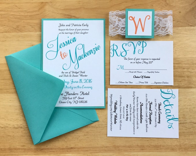 Teal & Coral Wedding Invitations - Beach Theme - Summer themed wedding