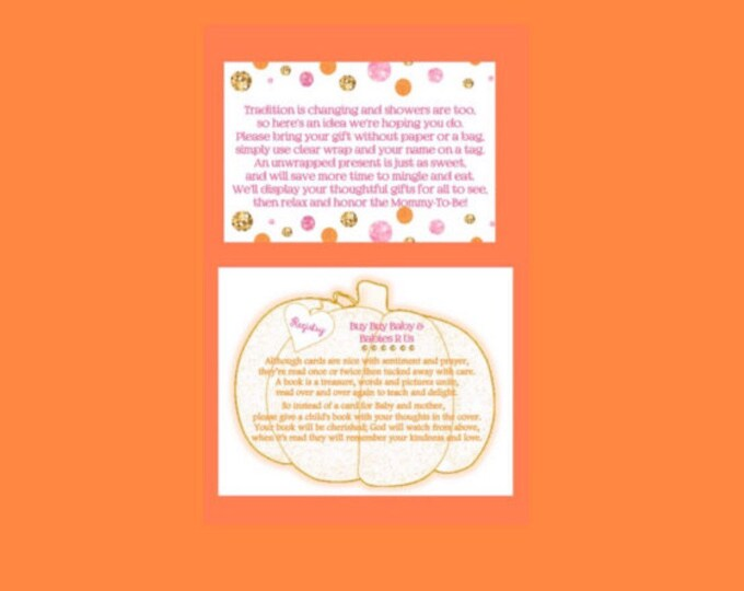 Additional Poem cards for pumpkin is on the way invitations