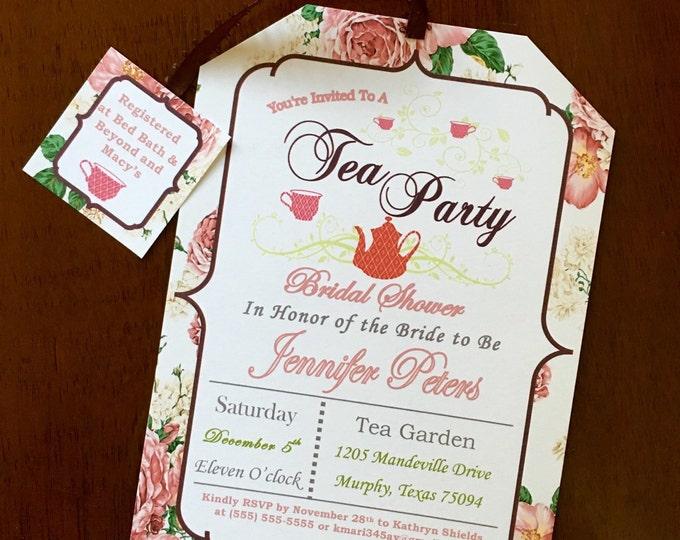 Tea Party Floral Bridal Shower Invitations Vintage