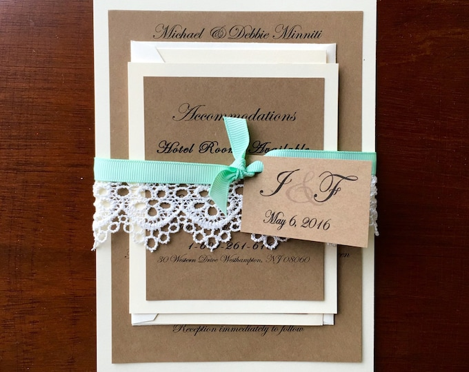 Rustic, Vintage, Laced Wedding Invitation