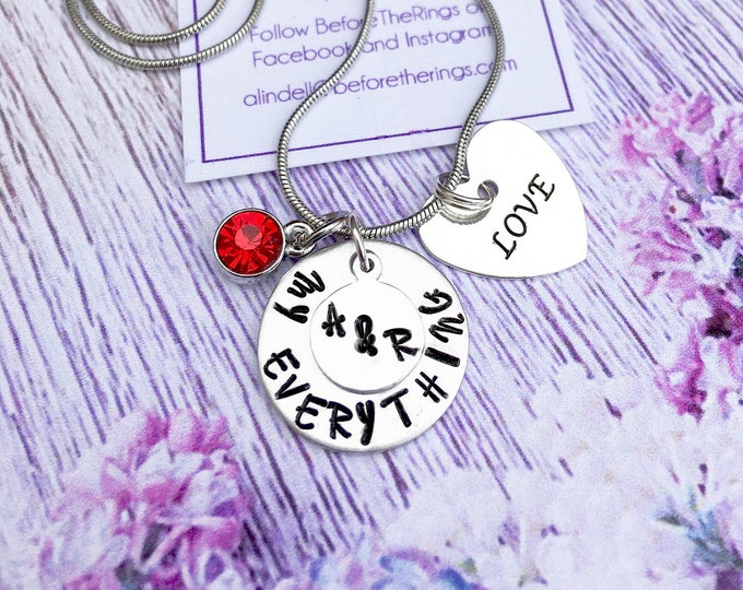 My Everything - Love Necklace - Hand Stamped Jewelry - gift for her