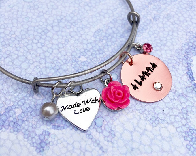 Little Girl's Name Stamped Bangle - Girl Jewelry Birthday Gift - Confirmation Gift or Communion Gift