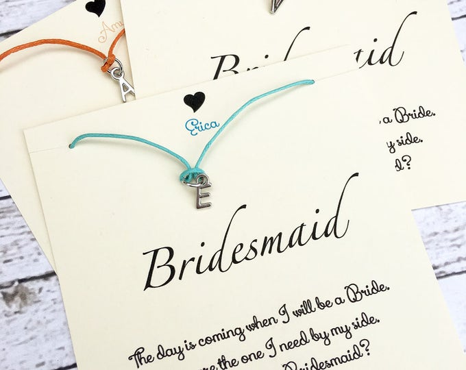 Personalized Initial Bridal Proposal Jewelry - Bracelet or Necklace - Jewelry for Bridesmaid and Bridal Party - Bridesmaid Gifts