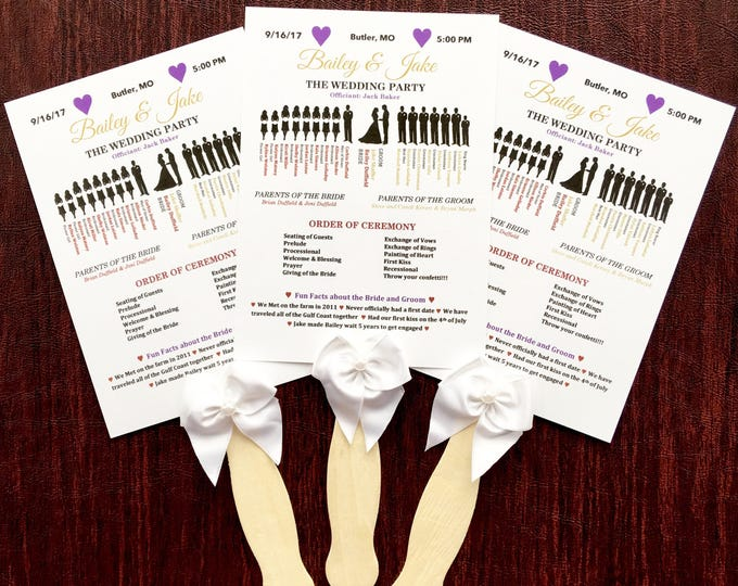 Wedding Fan Programs - Ceremony Programs with Fan Handle and Bow - Silhouette Programs