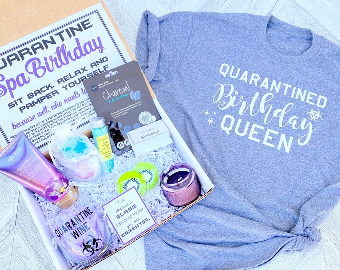Quarantine Birthday Gift Spa Set - Spa gift box with Quarantine Wine glass - You are Essential