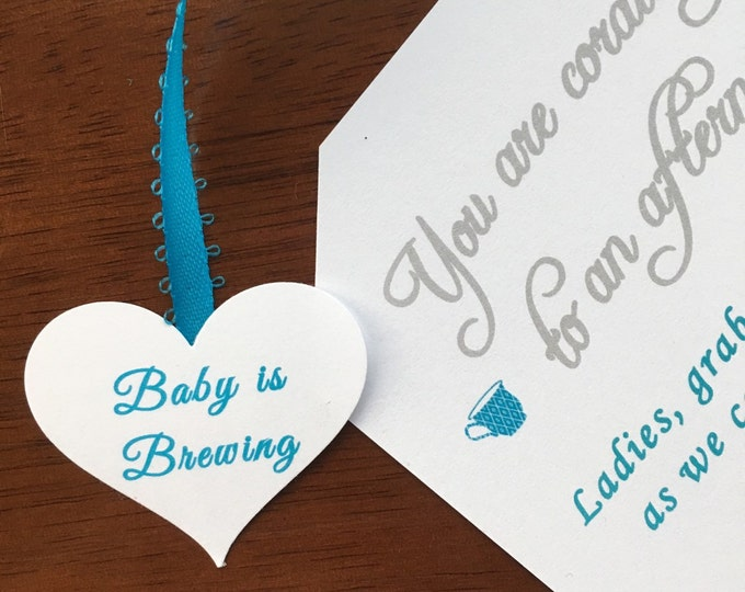Tea Party Baby Shower Invitations- A baby is brewing!