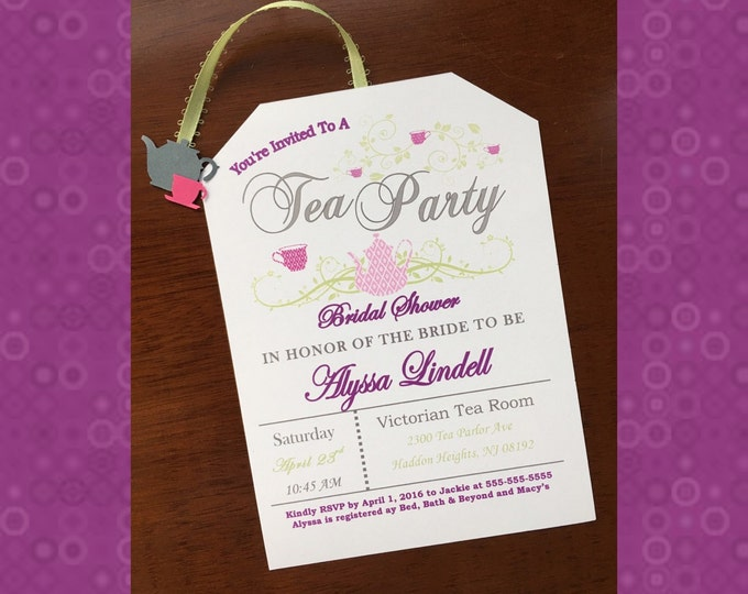 Tea Party Bridal Shower Invitations- Love is brewing! Magenta and Gray
