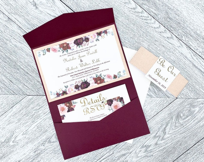 Burgandy and Gold Wedding Invitations - Burgandy and Gold Flower Themed - Pocket Wedding Invitations - Color Customizable Invitations
