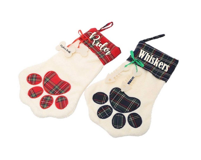 Dog and Cat Stockings - Pet Christmas Stockings - Personalized Dog and Cat Stockings - Paw Print Shaped