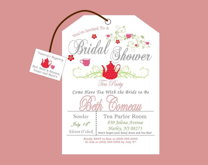 Printable Tea Party Bridal Shower Invitation Style #2