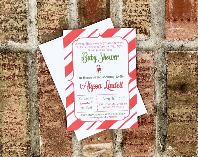Candy Cane Baby Shower Invitations - Christmas Theme Baby shower invitations - Winter baby shower - red and white theme