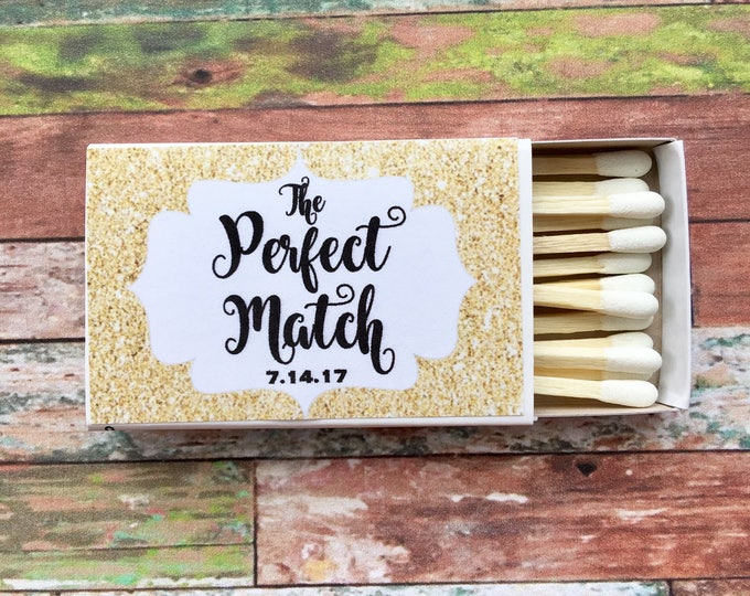 Matches Favor Labels - Gold Glitter Matchbox Favors - The Perfect Match - Match Made in Heaven - Match wedding or shower favors