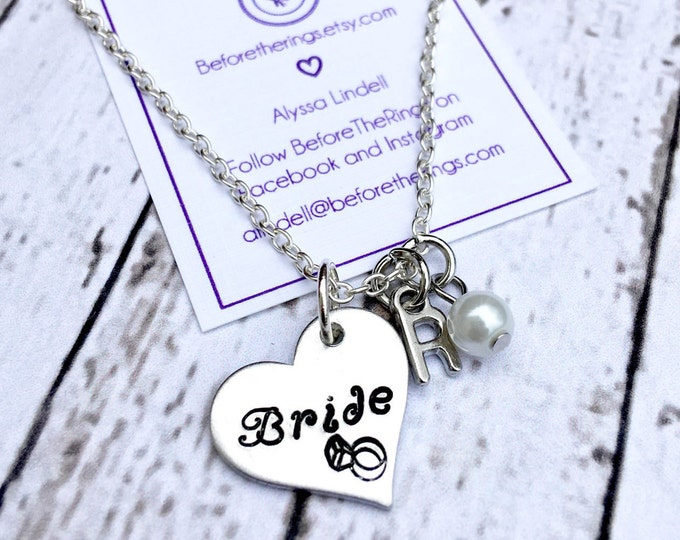Bride Heart Necklace with Initial and Pearl - Gift for the Bride - Bride Jewelry