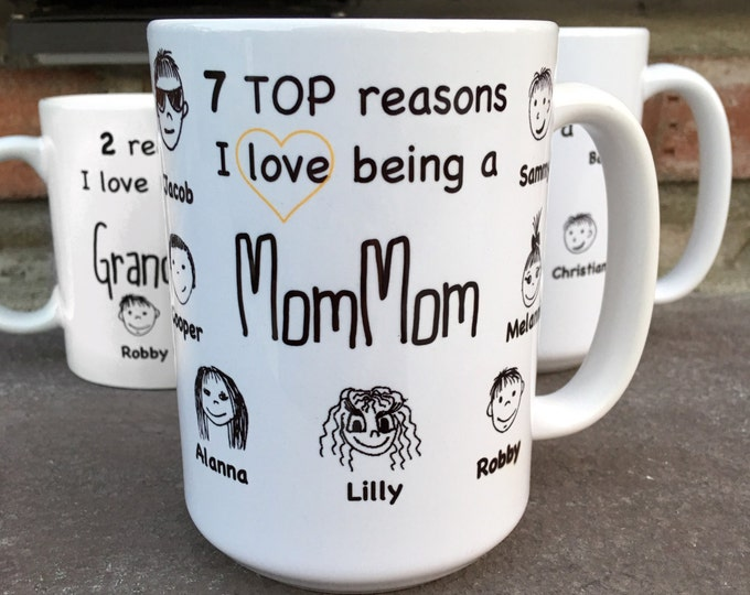 Mom-Mom Mug Gift - Reasons I love Being a MomMom - Mother's Day gift - Mother's Day Mug - Personalized Mug