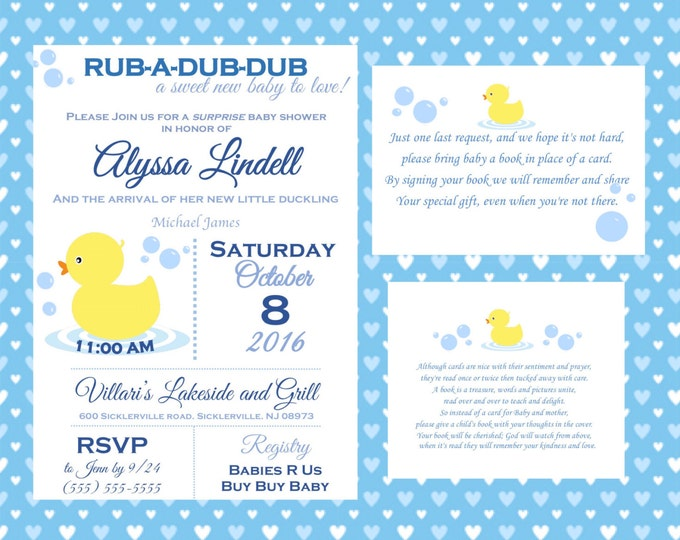 Rub a Dub Dub A New Baby to love baby shower invitation