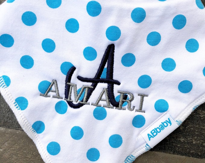Embroidered Baby Bib with Baby Name- Personalized Baby Bandana Bib with Snaps -Initial and with Baby Name
