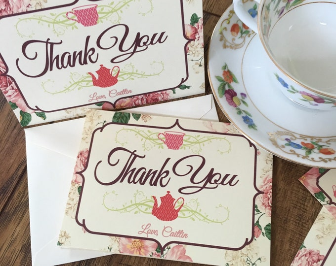 Set of Tea Party Thank You Cards