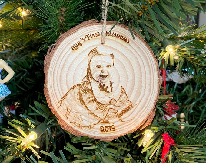 Photo Ornament - Baby's First Christmas - Personalized Wood Engraved - Laser Engraved Photo Ornament - Christmas Photo