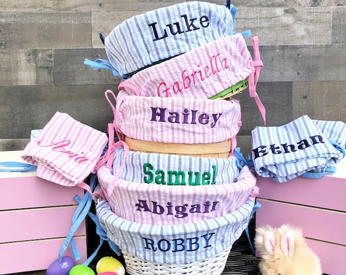 Easter Basket and liner - Embroidered with name - Easter Basket Cover - Fits Large Basket - Adjustable Band