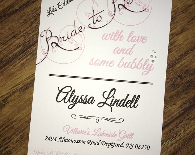 Bridal Shower Invitations Love and Bubbly with the Bride-to-Be (pearls)-color customizable