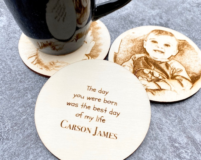 Photo Coasters - Wood Engraved Personalized Coasters - Set of 3