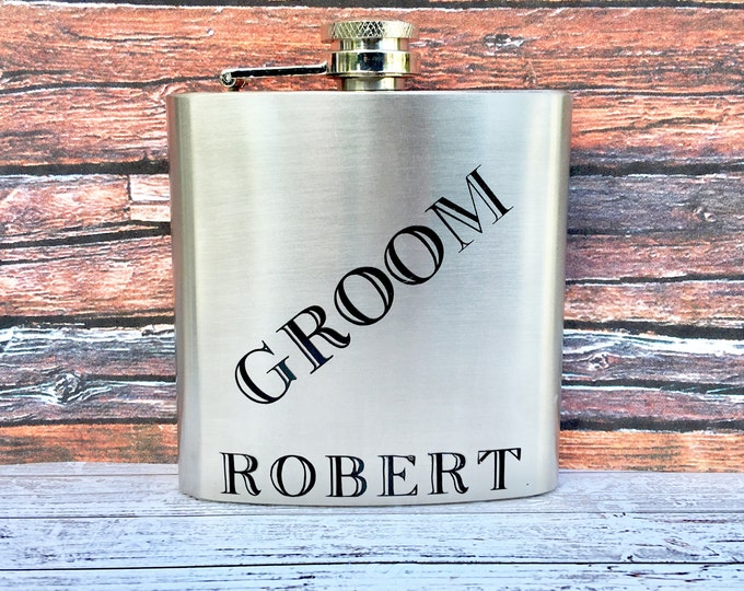 Groom Flask 6oz - Stainless Steel Personalized Groom Flask - Groom Gift