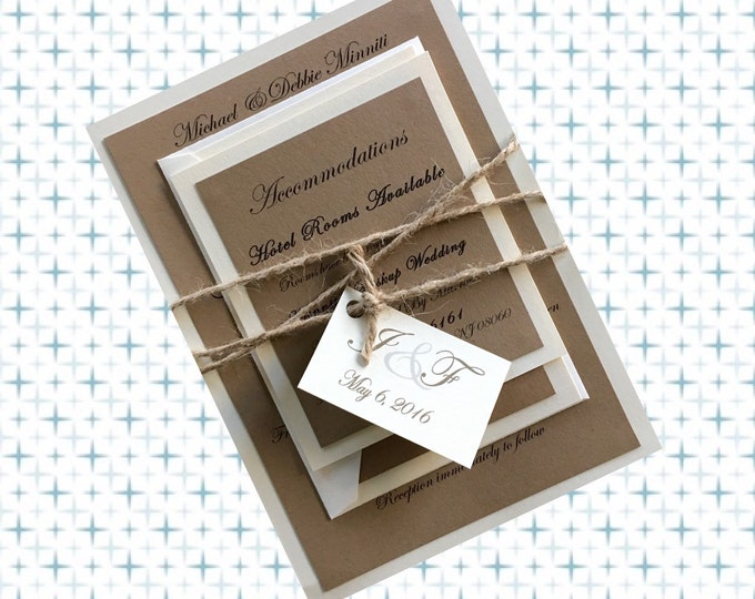 Rustic Twine Wrapped Wedding Invitations