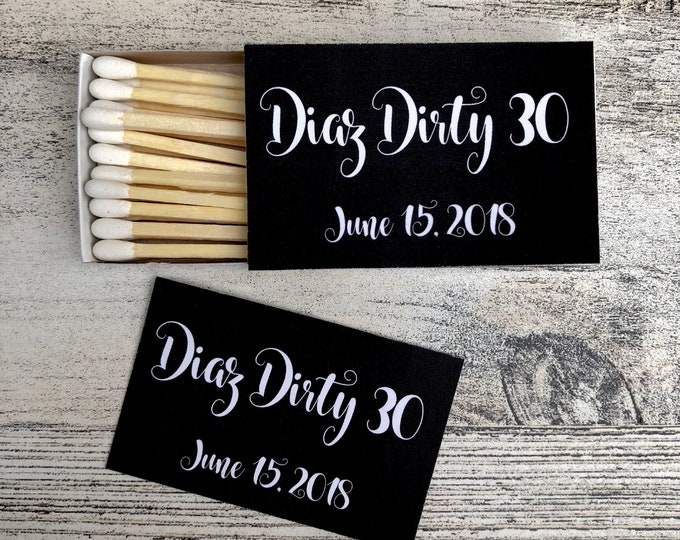Matches Favor Labels - Black and White Matchbox Favors - Birthday Matchbox Favors - Customizable