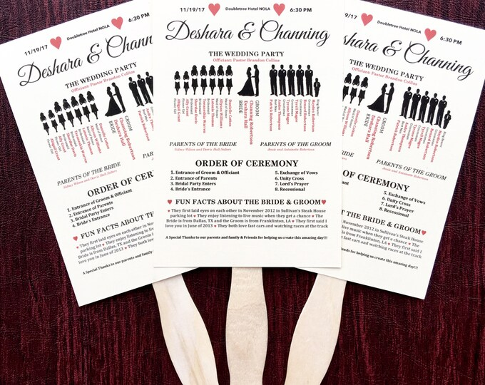 Wedding Fan Programs Ivory Colored - Ceremony Programs with Fan Handle - Silhouette Programs