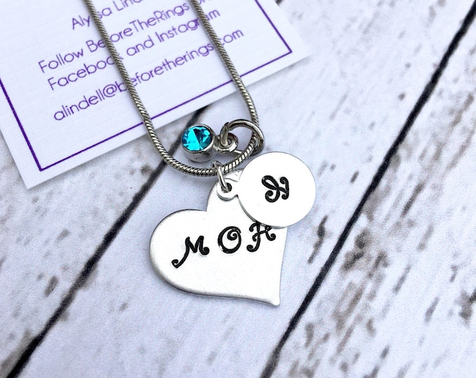 Maid of Honor Hand Stamped Initial and Charm- Proposal Jewelry - Bridal Party Proposals