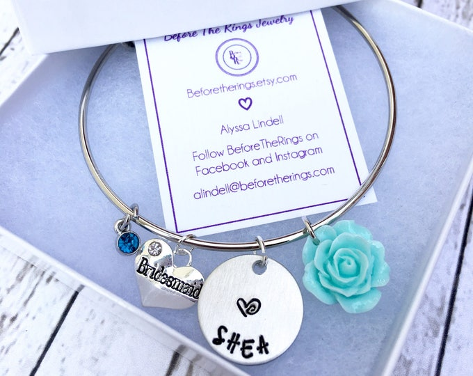 Bridesmaid Bangle with Engraved Name - Proposal Jewelry - Bridal Party Proposals