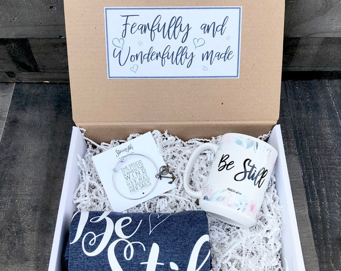 Christian Feel Better Box - Personalized Get Well Soon Box - Faith Box -  Fearfully and Wonderfully Made - Be Still