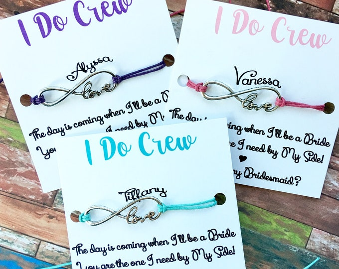 I Do Crew - Personalized Bridal Proposal Jewelry - Make a wish Bridal Jewelry for Bridesmaid and Bridal Party - Bridesmaid Gifts
