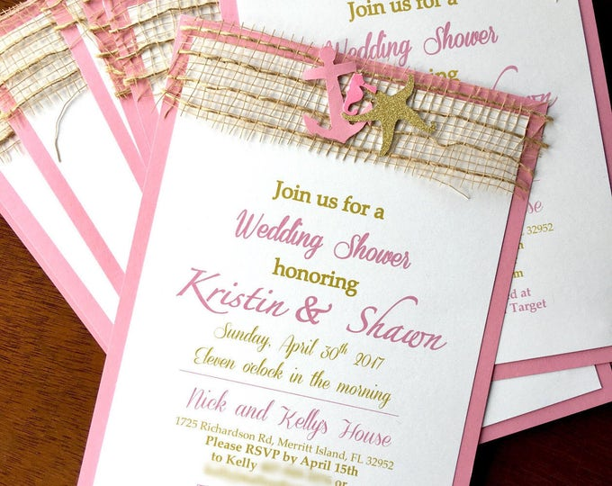 Bridal Shower Invitation - Beach Themed - anchor starfish and sea horse - Pink and Gold Glitter
