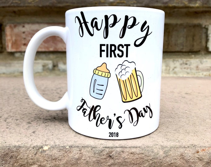First Fathers Day Gift - Fathers Day Mug - Dad gift - Father's Day Mug - Bottle and Beer Mug