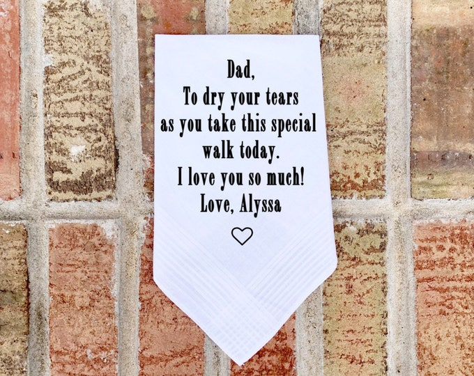 Father of the Bride Handkerchief - Personalized handkerchief - Father of Bride Gift